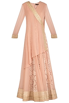 Blush Pink Angrakha Lucknowi Kurta With Skirt by Jyoti Sachdev Iyer