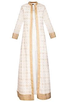 Ivory & White Lucknowi Jacket With Kurta by Jyoti Sachdev Iyer