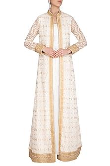 Ivory & White Lucknowi Jacket With Kurta by Jyoti Sachdev Iyer