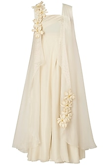 Ivory Embroidered Drape Dress with Cape by Jyoti Sachdev Iyer