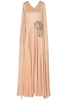 Peach Embellished Silk Modal Dress