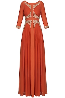 Rust Red Zari and Thread Embroidered Anarkali Set