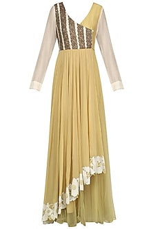 Beige Hand Embroiderd Asymmetric Anarkali Set