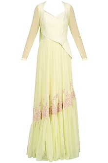 Lemon Yellow Thread Embroidery Asymmetrical Anarkali Set