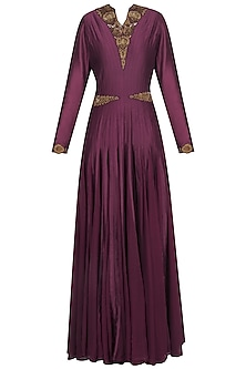 Wine Embroidered Anarkali Set