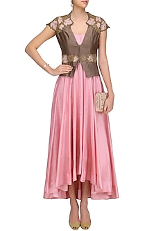 Pink Asymmetrical Anarkali with Leaf Embroidered Jacket by Jyoti Sachdev Iyer