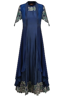 Navy Blue and Emerald Green Anarkali with Floral Work Jacket by Jyoti Sachdev Iyer