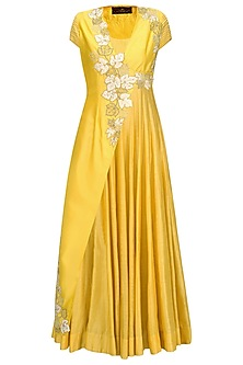 Mustard Yellow Anarkali with Floral Embroidered Jacket by Jyoti Sachdev Iyer