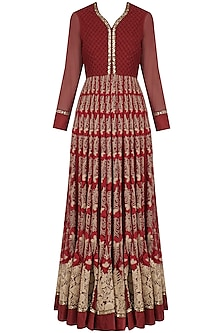 Maroon Dori and Thread Work Anarkali Set