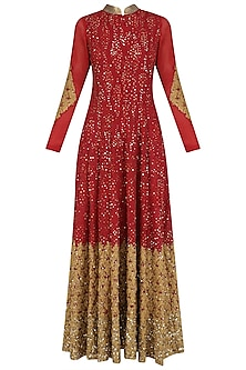 Red and Gold Sequins and Zari Work Anarkali Set