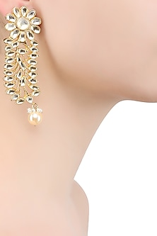 Gold Finish Kundan Stone Leaf Earrings