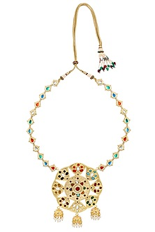 Gold Finish Multicolor Stone Necklace by Just Shraddha