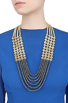 Pearls And Blue Beads Multiple String Necklace