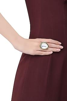 Gold Finish Kundan Stone Ring
