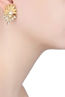 Gold Finish Stone Studded Flower Earrings