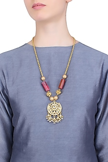 Gold Finish Stone Studded Pendant Chain Necklace