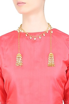 Gold Finish Pearl Gucha Chain Lariat by Just Shraddha
