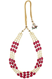Pearls and Ruby Stone Three Strand Necklace by Just Shraddha