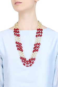 Pearls and Ruby Stone Three Strand Necklace