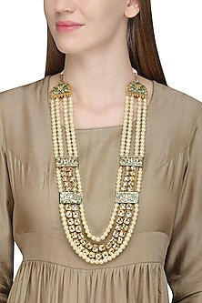 Gold Plated Kundan, Pearls and Enamel Necklace