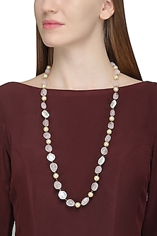 Mother Of Pearl and Quartz Beaded Necklace by Just Shraddha