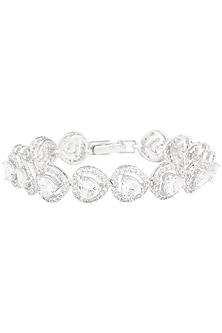 Silver Plated Heart Shaped Swarovski Bracelet by Just Shraddha
