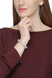 Silver Plated Heart Shaped Swarovski Bracelet