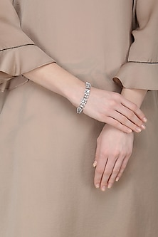 Silver Plated Flower Shaped Swarovski Bracelet by Just Shraddha