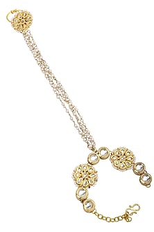 Gold Plated Kundan and Pearls Haath Phool by Just Shraddha