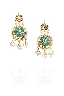 Gold finish turquoise stone chandbaali earrings by Just Shraddha
