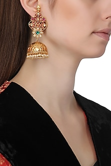 Gold Finish Semi Precious Stone Jhumki Earrings by Just Shraddha