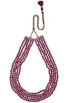 Maroon Stones Multi String Necklace by Just Shraddha