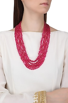 Maroon Stones Multi String Necklace