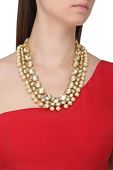 Gold Finish Polki Stone and Pearls Necklace