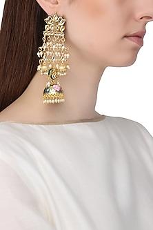 Gold Finish Kundan and Meenakari Earrings