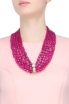 Ruby Stones Multi String Statement Necklace by Just Shraddha