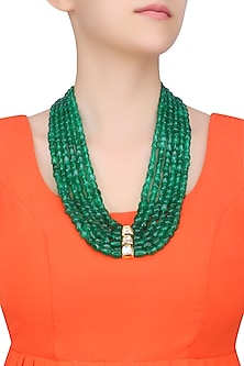Emerald Stones Multi String Statement Necklace by Just Shraddha