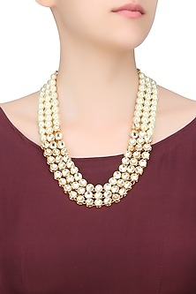 Gold Finish Kundan and Pearl Three String Necklace