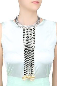 Silver Finish Black Chunky Beads Tassel Necklace by Just Shraddha