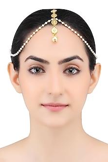 Gold Finish Tear Drop Motifs Pearl Chain Matha Patti by Just Shraddha