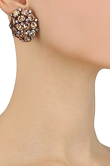 Gold Finish Swarovski and Stones Studded Earrings by Just Shraddha