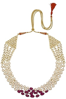 Three Tier Beaded Long Necklace by Just Shraddha