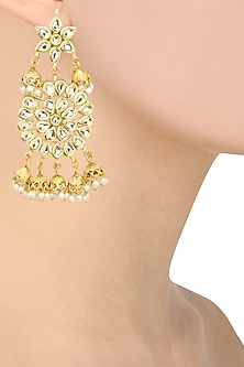 Gold Finish Kundan and Pearl Earrings by Just Shraddha