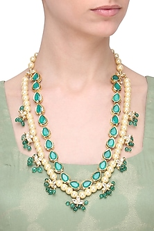 Blue Kundan and Pearl String Necklace