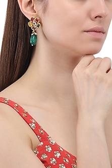Gold Finish Kundan and Semi Precious Stone Dangler Earrings by Just Shraddha