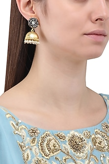 Gold Finish Zircons and Pearls Jhumki Earrings