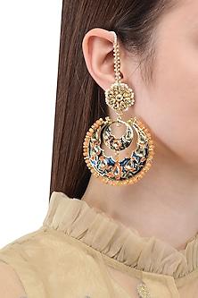 Gold Finish Kundan and Meenakari Chandbali Earrings