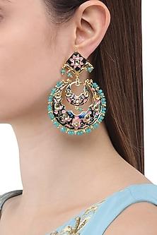 Gold Finish Meenakari Chandbali Earrings