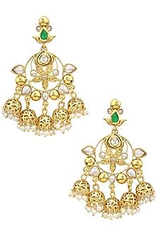 Gold Finish Kundan and Pearls Jhumki Earrings by Just Shraddha