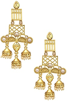 Gold Finish Cutwork Earrings by Just Shraddha